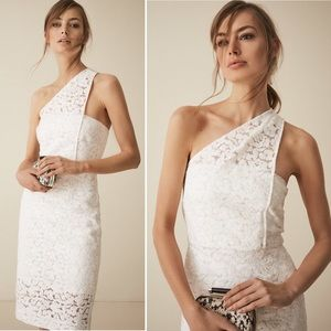 REISS Dress Sophia One Shoulder White Lace Floral